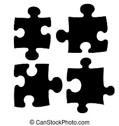 Four puzzle - Illustration of four puzzle pieces shape set