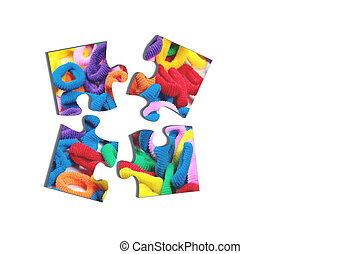 Four puzzle pieces with hairbands