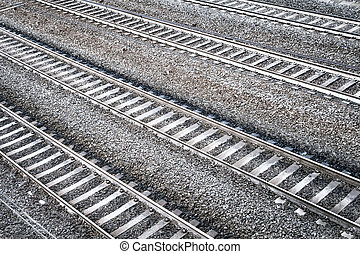 Four railroad tracks. Aerial perspective view.