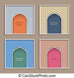 Four Ramadan Kareem greeting card templates