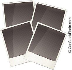 Four realistic polaroid photo frame on white