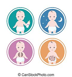 four reasons Why your baby is crying - Vector set of four...