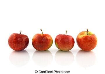 Four red apples in a row