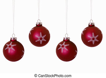 Four Red Christmas Bulbs Against a White Background