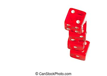 four red dice in stacked with space for text