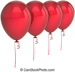 Four red party balloons blank