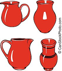 Four red pitchers of different shapes.