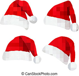 Four red santa hats.