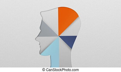 Four result shape of man head for diagram, chart....