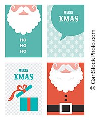 four retro cards for Christmas in hipster style