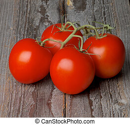 Grape Tomatoes - Four Ripe Raw Grape Tomatoes with Stems...