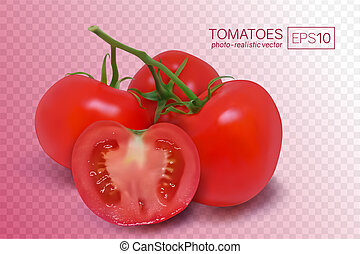 Four ripe red tomatoes on a branch