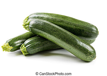Four ripe zucchini isolated on a white background