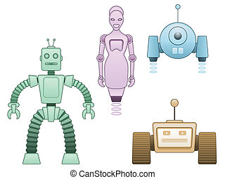 Four robots - Family of four colorful robotic cartoon...