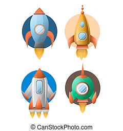 Four rockets colorful flat vector poster isolated on white
