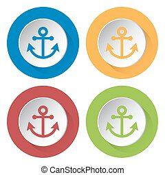 four round color icons, anchor