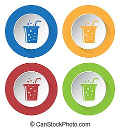 four round color icons, carbonated drink and straw