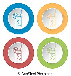 four round color icons, carbonated drink, citrus