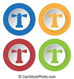 four round color icons, lighthouse
