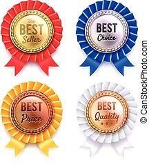 Four Round Metallic Premium Badges Set