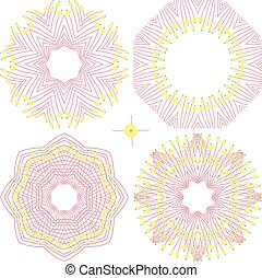Four round vector floral ornaments
