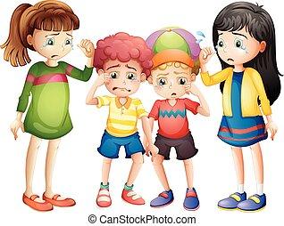 Four sad children crying