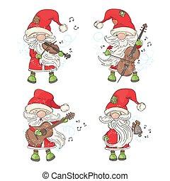 FOUR SANTA Merry Christmas Musician Vector Illustration Set
