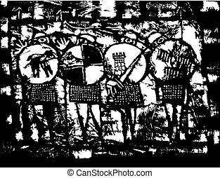 Four Saxon Knights rendered in a primitive style with round shields and swords.