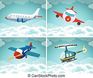 Four scenes of airplane flying in the sky illustration