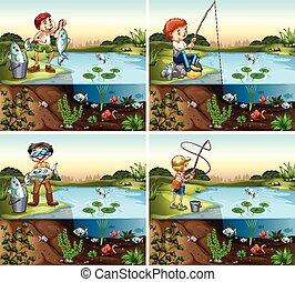 Four scenes of boy fishing in the pond illustration