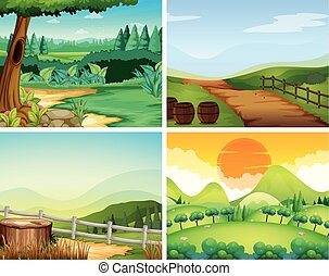 Four scenes of countryside illustration