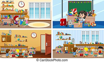 Four scenes with kids in different rooms
