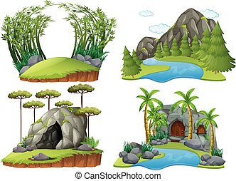Four scenes with mountains and trees