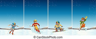 Four scenes with people skiing and snowboarding