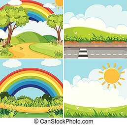 Four scenes with rainbow and sun in sky