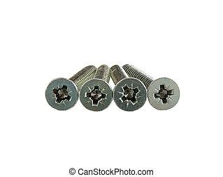 Four screws with flat cross head