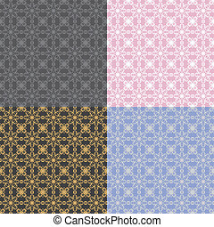 four seamless backgrounds with lace