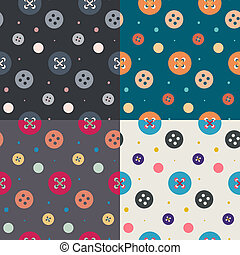 Four seamless button patterns