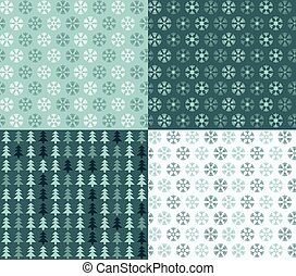 Four seamless Christmas patterns with snowflakes and trees