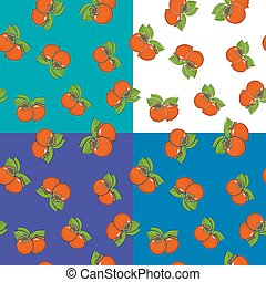 Four Seamless Pattern with Persimmon
