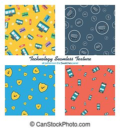 Four seamless patterns online shopping and mobile