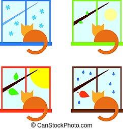 Four season icon set with cat sitting on a windowsill