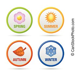 Colorful four season icons isolated on white background