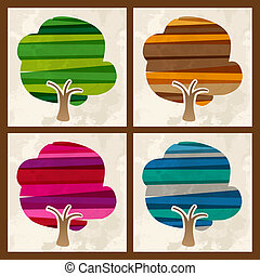 Four season multicolor tree set