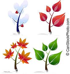 Four Season Style Trees. Easy To Edit Vector.