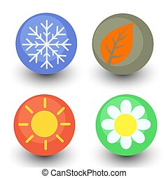 four season vector icon set, seasonal button with glassy...