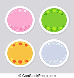 Four seasonal stickers with corresponding symbols