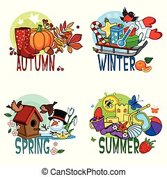 A set of cartoon illustrations of four seasons, spring, winter, summer and spring, a pumpkin with boots, a sledge with toys and gifts, a birdhouse with birds, a sand castle with a shell.