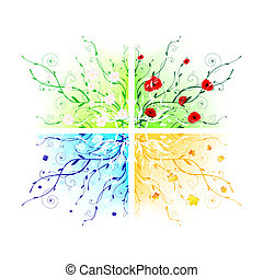 seasons - four seasons abstract floral frames
