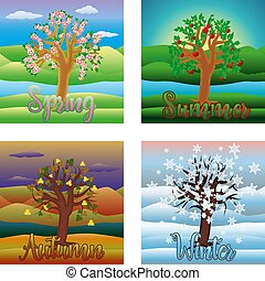 Four seasons background, vector illustration